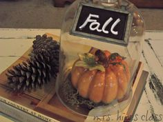 fall vignette with cloche by mrshinesclass.com