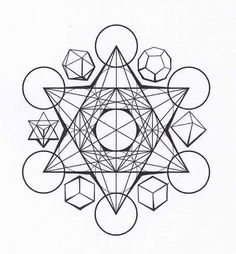 The platonic solids are found in 'sacred geometry' Sacred Geometry is a term used to describe patterns, shapes and forms that are part of the make up of all living things. The shapes regularly occu… Geometric Mandala, Geometric Designs, Geometric Shapes, Sacred Geometry Patterns, Sacred Geometry Tattoo, Platonic Solid, 3d Prints, Drawings, Earth Symbols
