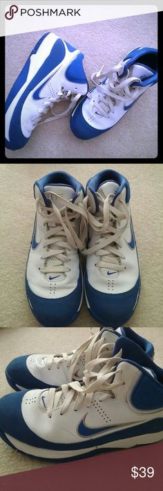 Nike blue/white (read description) Like NEW great for playing basketball, or just hanging out. The size is marked as 6.5Y but fits an 8... measures almost 11 inches from front to back of the bottom of the shoe. Nike Shoes Athletic Shoes