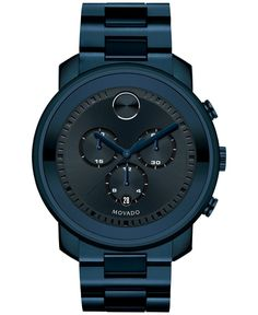 Large Movado BOLD chronograph with ink blue ion-plated stainless steel case, dark navy metallic dial with stamped minute index. Features dark navy sunray dot and subdials, ink blue hands, and date display with ink blue ion-plated stainless steel lin Luxury Watches, Rolex Watches, Gps Watches, Nordstrom, Stainless Steel Bracelet, Cool Watches, Casual Watches, Fashion Watches, Fashion Men