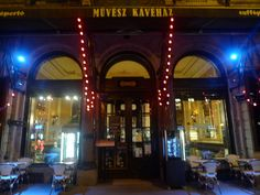 My first coffee in Budapest - Muvesz Kavehaz Veggie World, Budapest, Neon Signs, Tours, Coffee, Kaffee, Cup Of Coffee, Coffee Art
