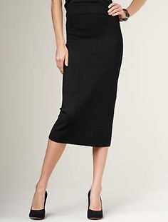 Loving the long pencil skirt style.