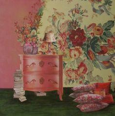"""""""La commode rose"""" by Marie Felba : Acrylique et collage sur toile de 50x50cm ."""