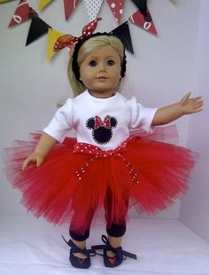 American Girl Doll Clothes  Minnie Mouse Tutu by PixieandLackie, $35.00