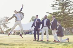 Maine Coastal Wedding Groom in Suit and his Groomsmen in Khakis and Jackets