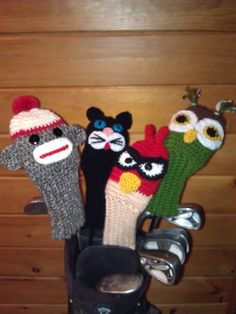 Owl, Cat, Mad Bird and Sock Monkey Golf Club Covers, you get all four patterns. What a cool way to protect and cover your golf drivers. These are fun and easy patterns to make using basic crochet stitches. You should know how to colour change and basic sewing skills to sew the parts on the cover. Stitch counts are noted at the end of every row. These patterns are also available individual if you don't want all four. By purchasing four, you get one free.