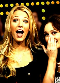 Blake Lively and Leighton Meester (Serena and Blair from Gossip Girl). MISS THAT SHOW so MUCH!!