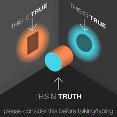 "This totally explains how our perspective determines what we see as ""true."" Here's to understanding that what is true for me and what is true for you are not different realities, but an opportunity for us to have a conversation and explore where we are both human. -DM"