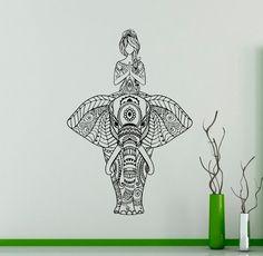 Elefante indio vinilo Decal Yoga etiqueta Yoga por USAmadeproducts