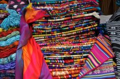 What the Otavalo people are known for: their beautiful, bright woven woolen fabric. #Ecuador #Otavalo Market