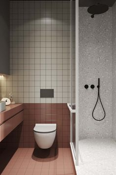 Modern Minimalist Studio Apartment With Comfortable Living Space Bathroom Red, Modern Bathroom, Master Bathroom, Bathroom Wall, Modern Small Bathroom Design, Small Bathroom With Bath, Small Bathroom Ideas, Small Toilet Design, Best Bathroom Tiles
