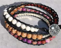 Multi Stone Leather Wrap Bracelet w Pewter Octopus Button, Pink Purple Amethyst - by SeaSide Strands. http://etsy.me/1dcgbEs