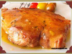 Medallones de cerdo con salsa de mango