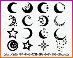 Moon svg Moon bundle Star lunar silhouette vector clipart art print Circuit svg png eps pdf dxf Frame Iron On Transfer Star lunar Moon svg Tribal Tattoos, Body Art Tattoos, Tattoo Drawings, Small Tattoos, Tatoos, Tribal Moon Tattoo, Paisley Tattoos, Tattoos Skull, Star Silhouette
