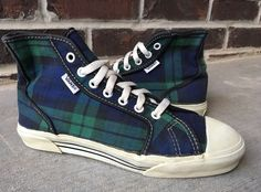 Vans Style 24 VTG OG Made In USA Sneakers 80s Plaid Canvas Hi Top Womens Size 7 #fashion #clothing #shoes #accessories #vintage #womensvintageshoes (ebay link)