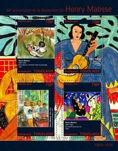 "TG 14302 a Henry Matisse (""Two Figures Reclining in a Landscape"" ""Music"" ""Music Lesson"" ""The Suffering of the King"" Henri Matisse, Music Lessons, Stamps, Comic Books, King, Landscape, Comics, Painting, Art"