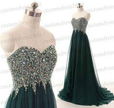 Sweetheart long prom dress,green long evening dress,handmade beading chiffon formal women dress,wedding party dresses