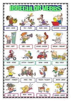 IRREGULAR VERBS English Teaching Materials, Teaching English Grammar, English Grammar Worksheets, English Language Learners, English Vocabulary, English Adjectives, English Verbs, English Lessons For Kids, Learn English Words
