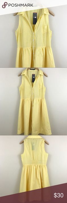 """Ark & Co Yellow Gingham Dress NWT Yellow and white Gingham print dress with button down detail. Elastic waist. Lined. Size large. NWT. Ark & Co. Bust: 36"""" Length: 35"""" Ark & Co Dresses Mini"""