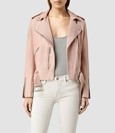 Womens Wyatt  Biker Jacket (BLUSH PINK) - product_image_alt_text_1