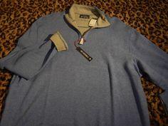 Cremieux Mens Sweatshirt Sweater Reversible Zip Neck Blue Gray $89 2XL XXL HOT #Cremieux #12Zip