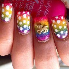 Unicorn rainbow nail art!