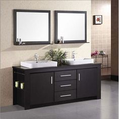 This modern Altima vanity features a sleek black finish and two designer flat-vessel sinks. This vanity set also includes polished chrome faucets, hardware, and two matching framed mirrors.