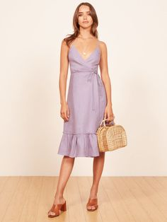 Fig lilac sleeveless wrap dress Reformation