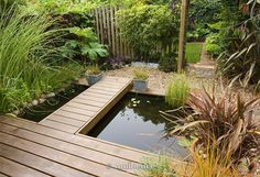 wooden walkways for garden | pond in the back garden with wooden decking walkway garden collection ...