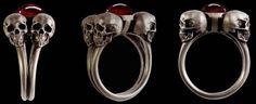 925 Solid Sterling Silver Four horsemen skull Ring by Silveralexa
