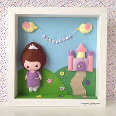 nursery/kids room frame with Sofia made from felt and tiny name banner!