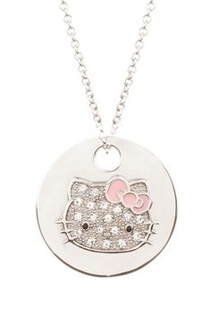 Hello Kitty by Simmons Jewelry Co White Sapphire Reversible Face Disc Pendant Necklace