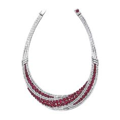 Ruby and Diamond Necklace Set with circular-cut and oval rubies, accented with tapered baguette and baguette diamonds, the rubies and diamonds weighing approximately 55.30 and 25.00 carats in total respectively, mounted in 18 karat white gold, length approximately 390mm.