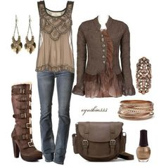 Steampunk fashion ~ a version of Boho? Mode Outfits, Casual Outfits, Fashion Outfits, Womens Fashion, Fashion Clothes, Casual Wear, Fall Winter Outfits, Autumn Winter Fashion, Lady Like
