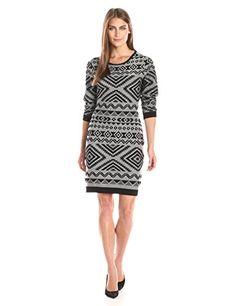Jessica Simpson Women's Long Sleeve Knit Dress with Aztec Print Black/White MD (Women's 8-10)