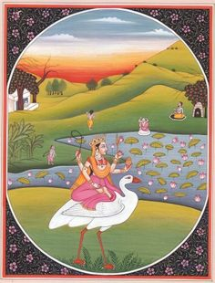 Goddess Saraswati Seated on a Swan