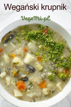 Wegański krupnik bez mięsa Cheeseburger Chowder, Vegan, Dinner, Food, Dining, Food Dinners, Essen, Meals, Vegans