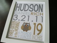 Birth Announcement Baby Boy Print Owl 8 x 10
