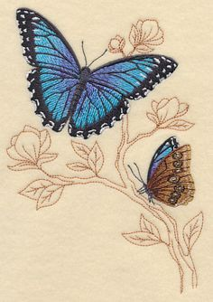 Blue Morpho with Delicate Branches design (K8606) from www.Emblibrary.com