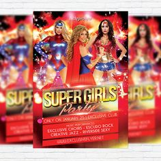 Super Girls Party - Premium Flyer Template + Facebook Cover http://exclusiveflyer.net/product/super-girls-party-premium-flyer-template-facebook-cover/