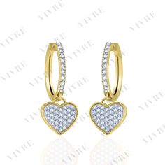4dcc94271 1.00 ct Round Cut Diamond Heart Hoop Huggies Earrings 14k Yellow Gold Over  #Vivre #