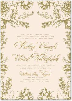 Weddingpaperdivas.com; Artful FloralNude Signature White Wedding Invitations Designed by: Marchesa for Wedding Paper Divas