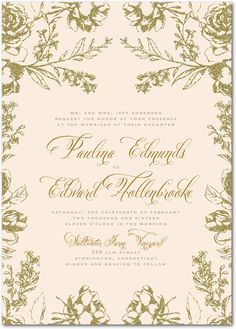 Weddingpaperdivas.com; Artful FloralNude Signature White Wedding Invitations Designed by: Marchesa for Wedding Paper Divas