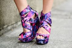 Awesome High Heel Shoes | colorful wedges pink white purple shoes high heels blue edit tags