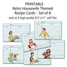 Printable 1950's Retro Housewife Recipe Cards by onelovedesignsllc                                                                                                                                                                                 Mehr