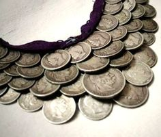 Salba is a traditional Ukrainian jewellery item made of coins sewed to a narrow piece of fabric tied around the neck.