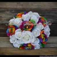 Rainbow rose wedding bouquet