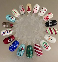 Christmas nails! #shellac #nailart #naildesign #christmas #rudolph #wreath #snowman #red #green #white #santahat #candycane #bulbs #polkadots #snowflakes