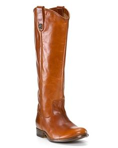 """#Frye """"Melissa"""" button boots at #Bloomingdales. ADORE the cowboy boot top and sleek leather -- perfect combination of high and low, easy and pulled together...and it's a flat. You'll wear it all fall and into the winter. Saddle goes with every color too!"""