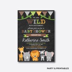 Safari Baby Shower Invitation, Safari Invitation, Jungle Baby Shower, Boy Baby Shower, Baby Sprinkle, Personalized, Chalkboard (CBS.41) by everjolly on Etsy https://www.etsy.com/listing/271453737/safari-baby-shower-invitation-safari